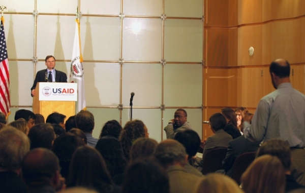 Locher took questions from USAID staff on what national security reform and smart power means to them